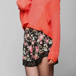 UO Band of Gypsies Floral Lace Trim Tap Shorts